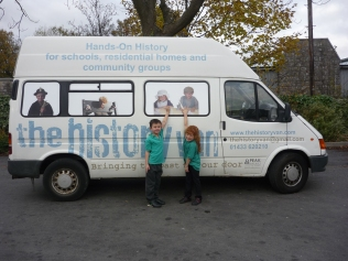Lucy and Sam from Castleton School with The History Van