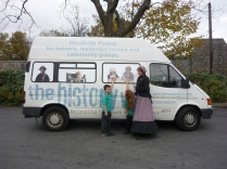 Lucy and Sam from Castleton School with Jenny Bland and The History Van